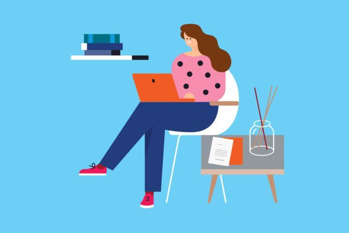 Piirroskuva, hahmo tietokoneella.